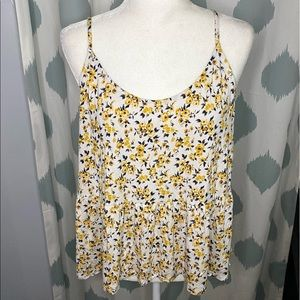 AEO Soft & Sexy Yellow Floral Peplum Cami Top - XL